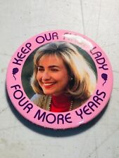 1996 HILLARY CLINTON bill campaign button pin pinback political presidential