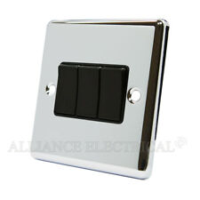 Polished Mirror Chrome Classical 3 Gang Switch -10 Amp CPC3GSWIBL