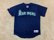Vtg MAJESTIC Authentic Seattle Mariners Alternate Jersey -Large -Dark Blue