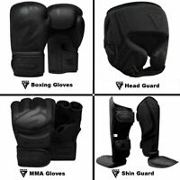 RDX Gants de Boxe,Gants MMA,Garde de tête,Protège-tibia Entraînement de Noir FR
