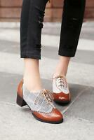 British Womens Lace Up Wingtip Color Brogue Block Heel Oxfords Chunky Heel Shoes