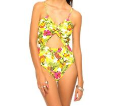 MOTEL ROCKS SWIMSUIT SIZE XS 8 PARROT WHITE GREEN FLORAL PADDED CUT OUT NEW