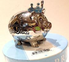 "Mud Pie WELCOME LITTLE PRINCE Nursery Décor Blue Prince Mini 3.5"" Piggy Bank New"