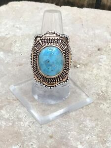 Barse Verona Ring-Mixed Metal-Turquoise- 9-New With Tags