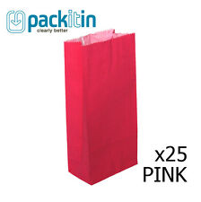 HOT PINK paper flat bottom small GIFT BAGS x 25 perfect for party lolly bags NEW