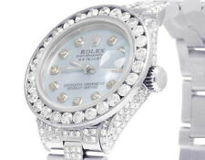 Ladies Rolex Datejust Oyster 26MM Black Dial Iced Out Diamond Watch 10.5 Ct