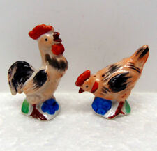 "Vintage Ceramic Salt & Pepper Shaker Set - Rooster (3"") and Chicken (2½"") Pair"