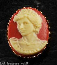 "LTV Creation ""Princess Diana"" Pin Brooch Gold Plated Metal Resin Cameo"
