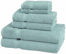 MONOGRAMMED 6 PCS. SPA BLUE TOWELS SET - FROM PINZON ORGANIC COTTON
