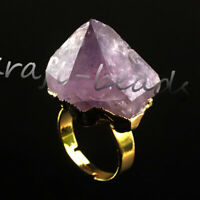 Natural Raw Amethyst Quartz Durzy Crystals Stone Adjustable Reiki Finger Ring