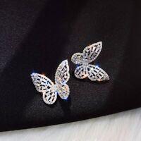 Fashion Butterfly Crystal Luxury Zircon Earrings Ear Stud For women Party Gift
