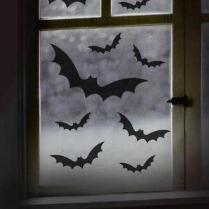 11 Black Bat Halloween Window Stickers Halloween Party Halloween Party Decor
