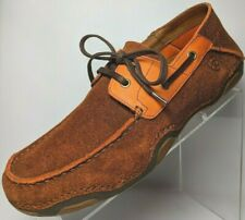 Ariat 4LR Mens Caldwell Roughed Brown Orange Suede Laces Boat Oxford 10.5 D $100