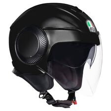 CASCO HELMET MOTO JET AGV ORBYT SOLID MATT BLACK NERO OPACO DOPPIA VISIERA TG L