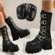 Womens Chunky Platform Mid Boots Zip Square Toe High Heels Punk Buckle Shoes New