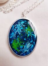 Multicoloured abstract  acrylic paint resin silver oval pendant  necklace