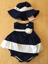 Gymboree Marina Party Swing Blouse Top Bloomer Hat Set 3-6 mo  NEW Baby Girl