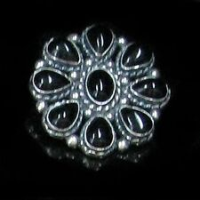 GORGEOUS .925 Sterling Silver Black Onyx Flower Pendant