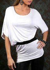 Sexy Miss Longue Chemise Femme Chauve-Souris Asymétrique 34/36/38 Blanc Noir Top
