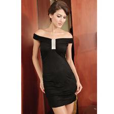 Wide Neckline Fashion Mini Dress with Rhinestones Black