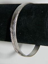 Herringbone Silver Plated Bangle Bracelet 7mm wide Wheat Texture Design