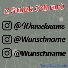 Aufkleber mit Instagram Name - Name und Farbe auf Wunsch - 2 Stück (20 cm)