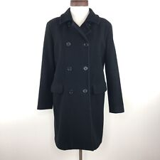 United Colors of Benetton Black Wool Pea Coat  |  Womens Small
