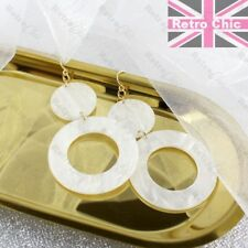 "RETRO BIG 3""long lucite FAUX MOP SHELL EARRINGS hoops WHITE CIRCLE gold plated"