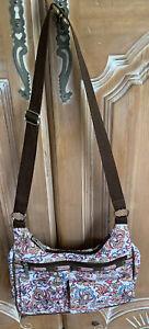 Lesportsac White & Multicolor Floral Print Hobo Handbag w/Brown Trim