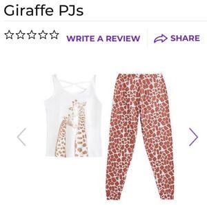 AVON Ladies Womens Giraffe Vest Pyjamas Pjs Large UK 16-18 100% Cotton BRAND NEW
