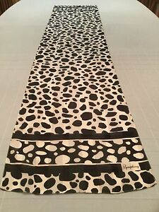 "Symphony Italian Oblong Black & White Pebbled Polyester Scarf 13.5 x 60.5"""
