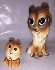 Large Eyed Border Collie Figurine Set - 1 Large 2 Small - Cute Vintage Dog Decor
