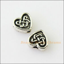20Pcs Antiqued Silver Tone Chinese Knot Heart Spacer Beads Charms 5.5x6.5mm