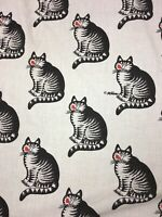 VTG 1980's B. Kliban Cat Red Kiss Cheek King Sized Fitted Bed Sheet Fabric Used