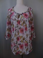 Decree Peasant Boho Style Top Cream Colored Floral Print 3/4 Sleeve Medium #1813