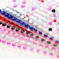 Pearl Stickers Sheet Half Pearl Bead Flat Back Stick On Single Gems 3D Sticker