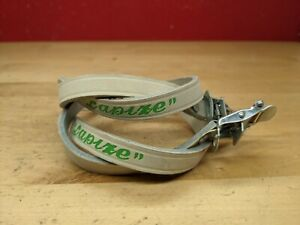 NOS vintage Lapize White Leather Toe Straps Pair Green Logo Made in France L3