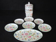 MINTON 'HADDON HALL' SET 9 TRINKETS (GOLD AND GREEN RIM) 1ST
