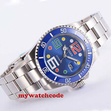 40mm Bliger blue dial colorized mark sapphire date automatic movement mens watch