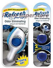 New Refresh Your Car Refillable Power Plug-In Air Freshener Odors Eliminator LED