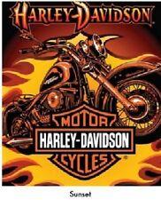HARLEY-DAVIDSON SUNSET QUEEN SIZE 76x94 INCH SOFT BIG WARM THROW BED BLANKET
