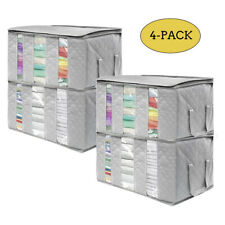Foldable Storage Bag Organizers, 3 Sections,For Clothes, Blankets, 4-Pack (Gray)