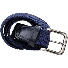 Cinturón para hombre 35mm web Extremos de Cuero (Azul marino) Grande