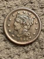 1855 Large Cent Rare Knob on Ear Nice Detail Toned Nicely