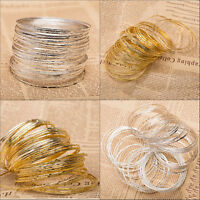 Cute Metal Silver Ultra Thin Hoop Bangle Wire Bracelet Cuff Wristband Set of 5PC