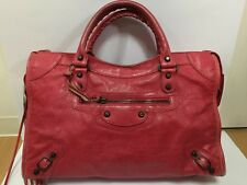 Authentic BALENCIAGA City Bag Rose Red F/W 2012 Classic Stud Handbag