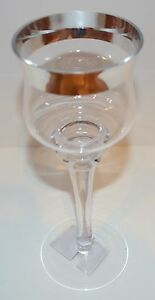 YANKEE CANDLE FLICKERING SILVER RIM TALL GLASS TEA LIGHT CANDLE HOLDER LUMINARY