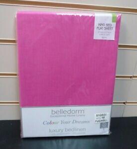 "Belledorm Flat Sheet King Size Pink Fuchsia 108"" X 108"" Approx Non Iron NEW"