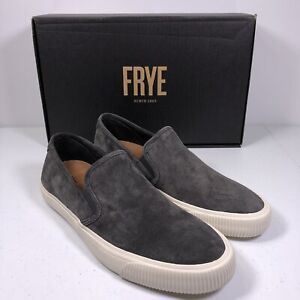 Frye Men's Patton Slip On Sneakers Shoes Suede Graphite NEW IN BOX