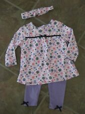 Kidgets Baby Girl 3 Piece Outfit Long Sleeve, Pants & Headband Set 6-9mo / BNWOT